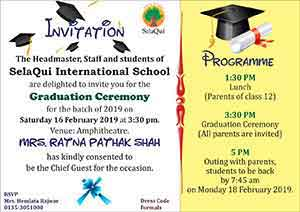 Graduation Day On 16 Feburary At 3:30 Pm. All Parents Are Invited.